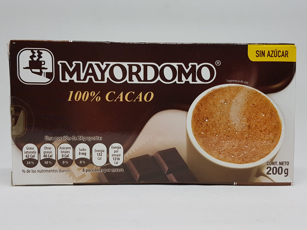 Mayordomo Chocolate 100% Cocoa 200g