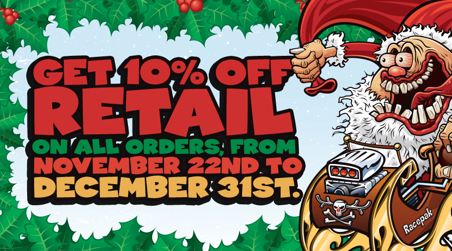GET 10% OFF RETAIL FROM RACEPAK! OFFER VALID 11/22-12/31, 2016
