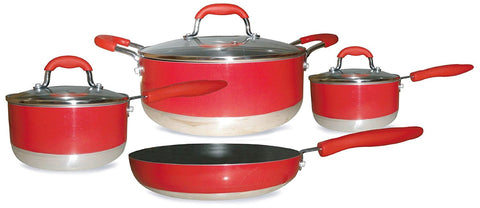 Gourmet Chef Induction Ready 7-Piece Non-Stick Cookware Set, Red
