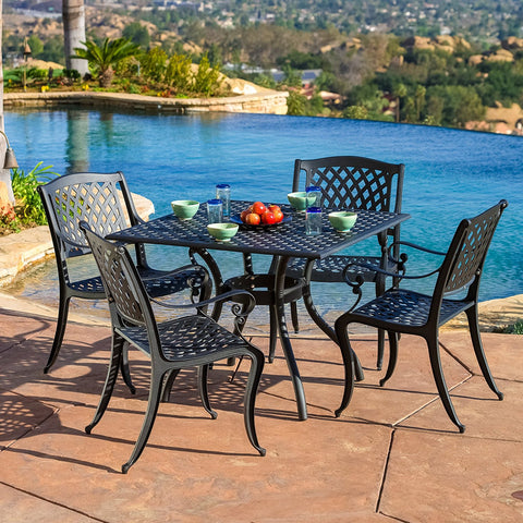 5-piece Cast Aluminum Outdoor Dining Set with Arm Chairs, Table with Umbrella Hole, Black Finish