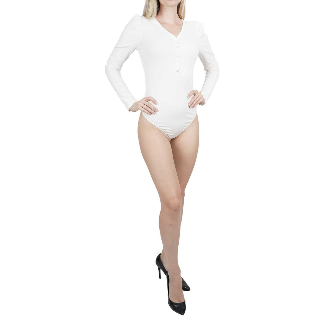 V-Neck Raglan Thong Back Bodysuit With Lace Trim