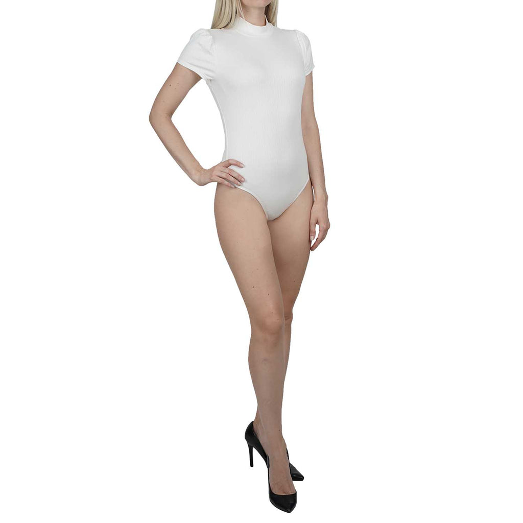 Short Puff Sleeve Mock Neck Thong Back Bodysuit