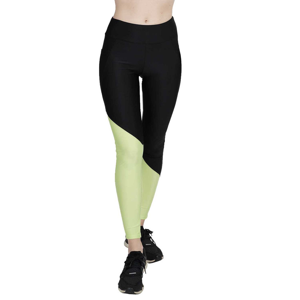 Wide Waist Faux Performance Color-Blocked Legging With Cellphone Pockets