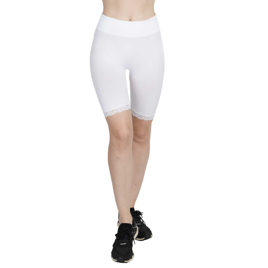 Wide Waist Seamless Bike Short With Lace Trim