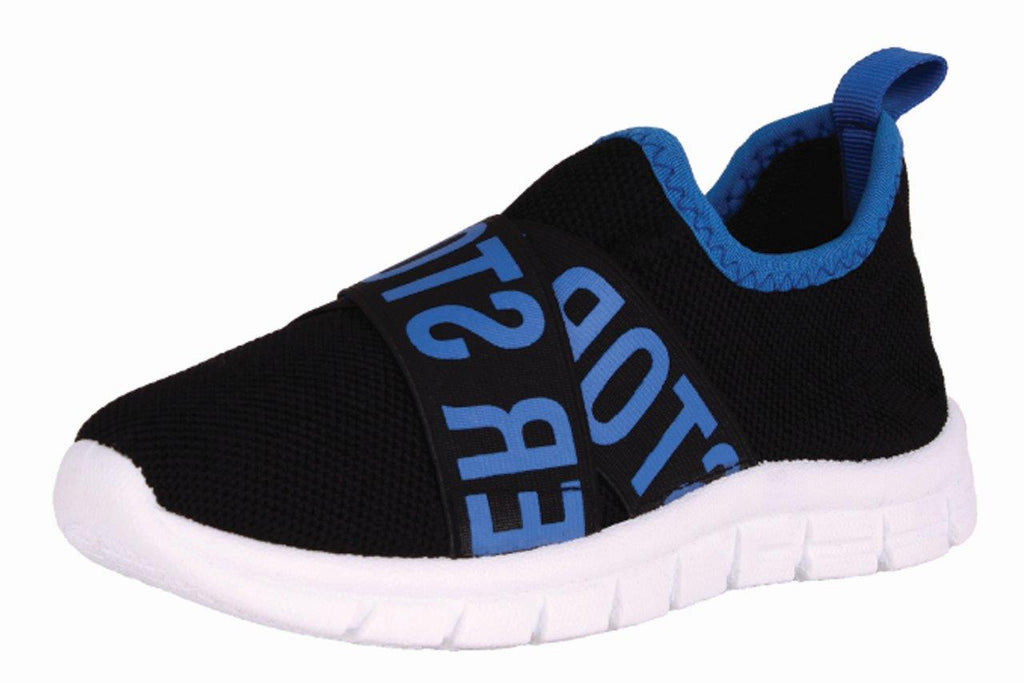 Black Knit With Blue Text Shoes