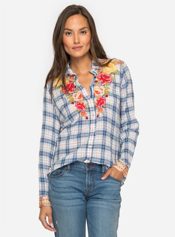 Johnny Was Plaid Top With Embroidery