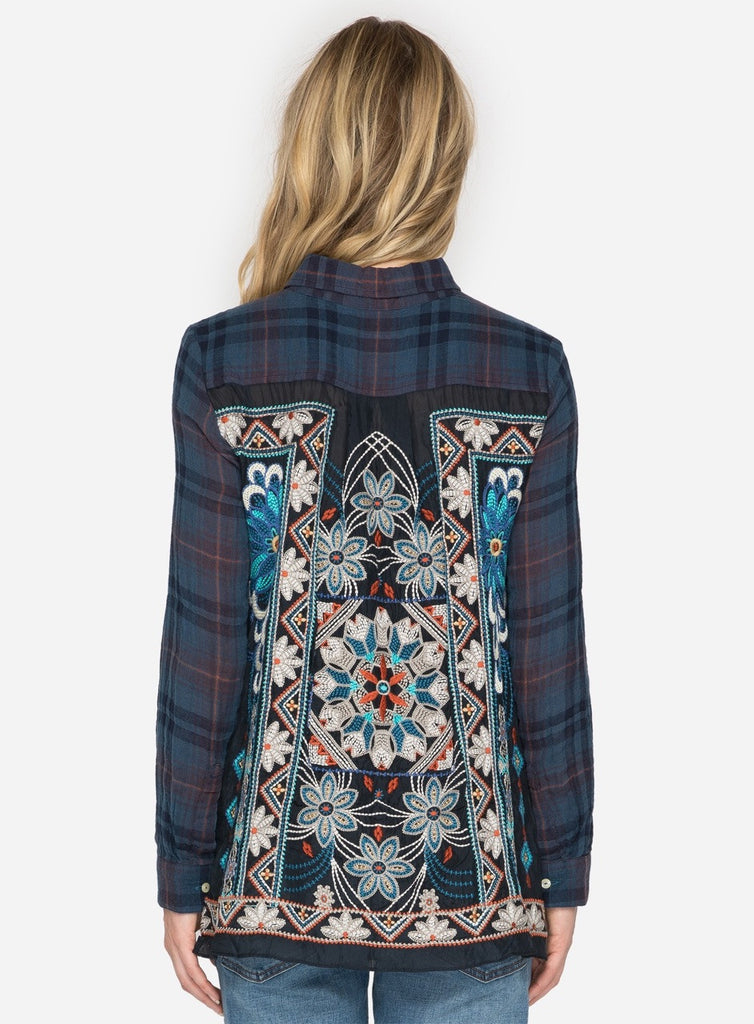 Johnny Was Navy Plaid Top With Embroidery Back