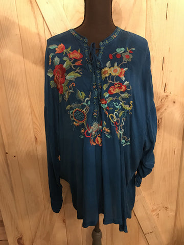 Johnny Was Blue Embroidered Top