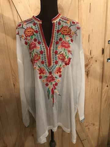 Johnny Was White & Red Embroidered Tunic