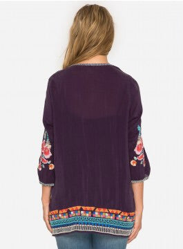 Johnny Was Araxi Tunic - Dullberry Purple
