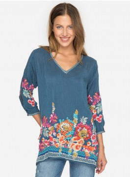 Johnny Was Araxi Tunic -Spruce Blue