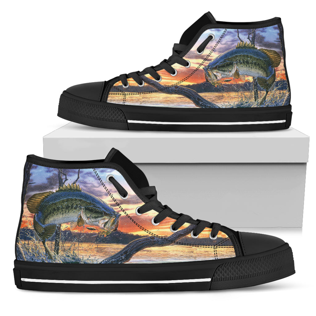 Largemouth Bass Shoes - High or Low Top - Black or White - EXPRESS SHIPPING on these items