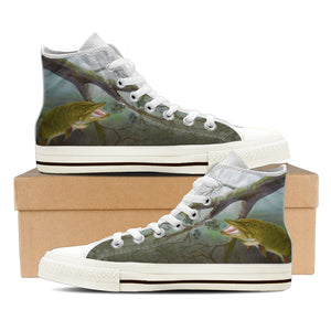 Women's Premium Muskie High-Tops (White) - FREE SHIPPING