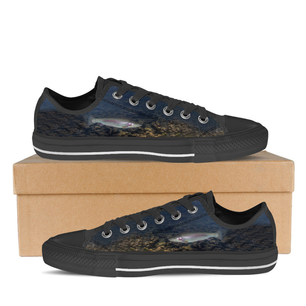 Men's Custom Rainbow Trout Low-Tops (Black) - FREE SHIPPING