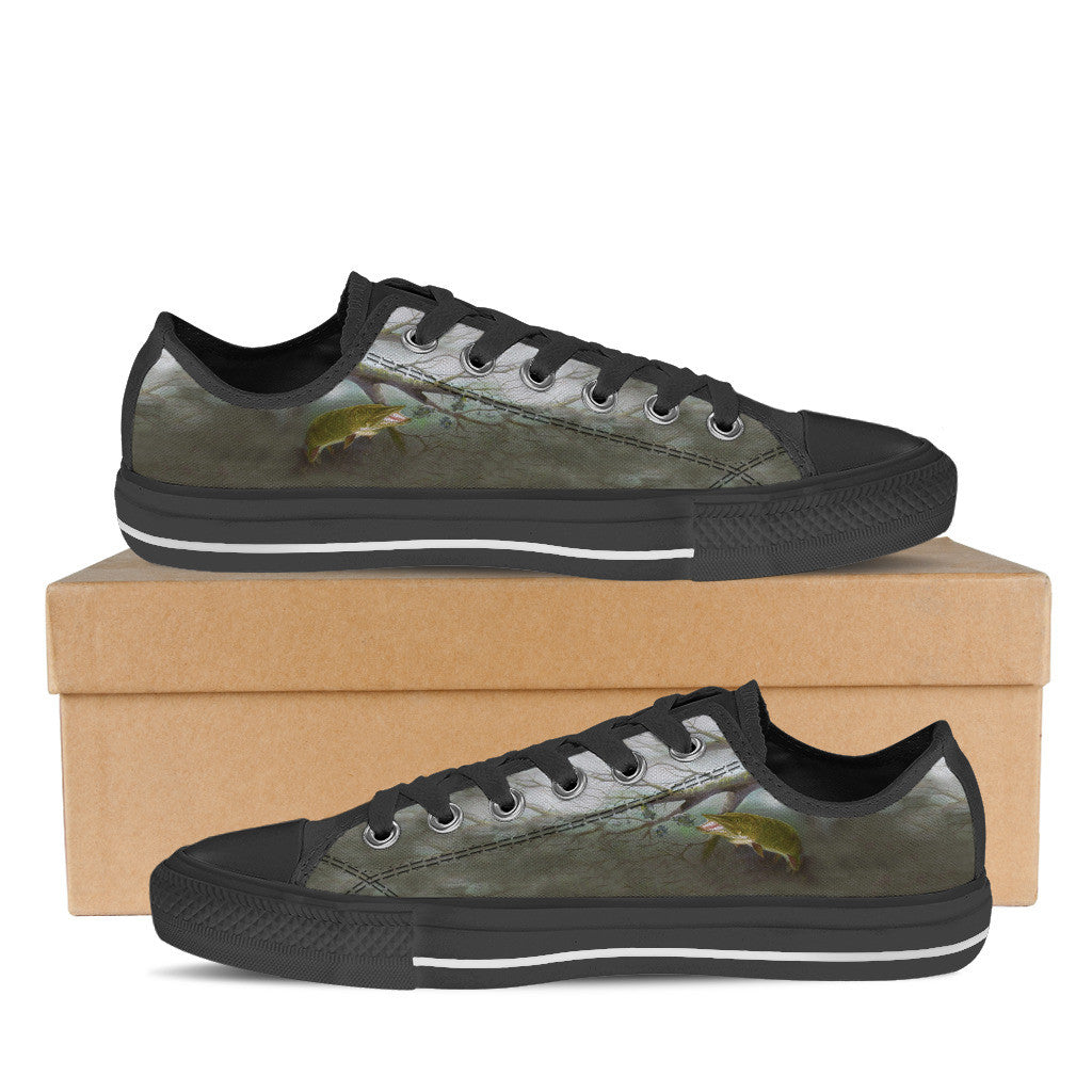 Women's Custom Muskie Low-Tops (Black) - FREE SHIPPING