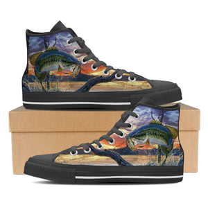Women's Premium Largemouth Bass High-Tops (Black) - FREE SHIPPING