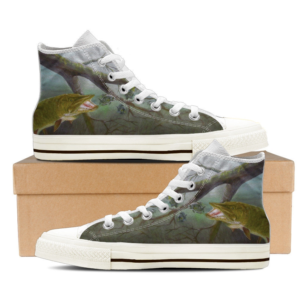 Men's Premium Muskie High-Tops (White) - FREE SHIPPING