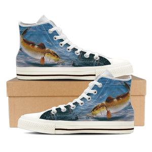 Men's Premium Redfish High-Tops (White) - FREE SHIPPING