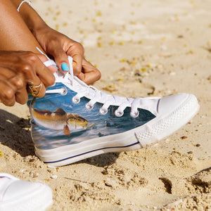 Women's Premium Redfish High-Tops (White) - FREE SHIPPING