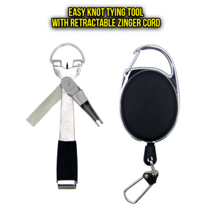 4 in 1 Quick Knot Tying Tool - with clipper and file on retractable cord