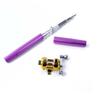Pocket Telescopic Mini Fishing Pole Pen With Reel Wheel