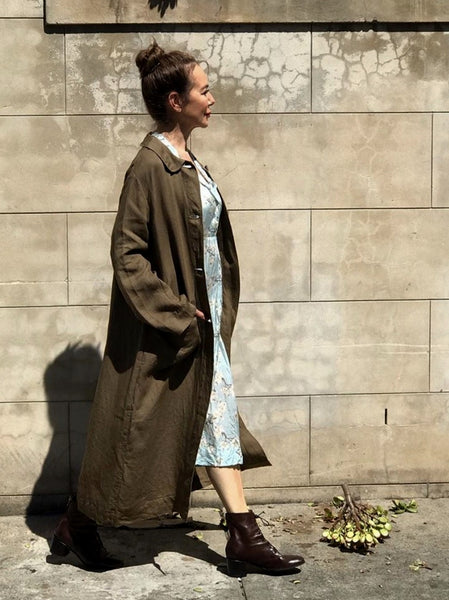 Loom Lifestyle- Linen Buttoned Coat- Dabu - LC-002