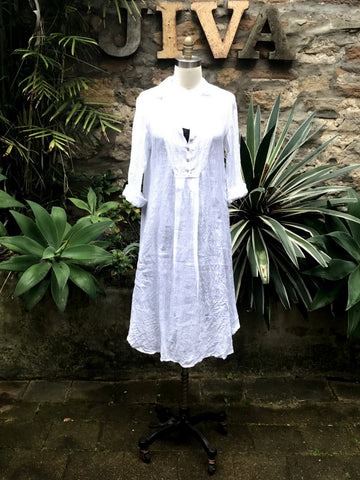 Jiva Siena Over Dress- White Gauze Linen-jivaclothing
