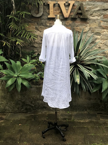 Jiva Siena Over Dress- White Gauze Linen