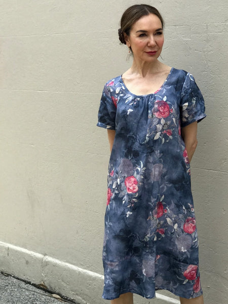 Jiva Lulu Dress- Linen Blue Rose Print-jivaclothing
