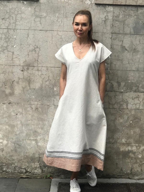Jiva Greta Dress- Natural/ Stripe Hem Linen- jivaclothing