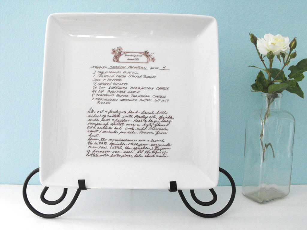 Square Plate Platter Customized With Handwritten Recipe
