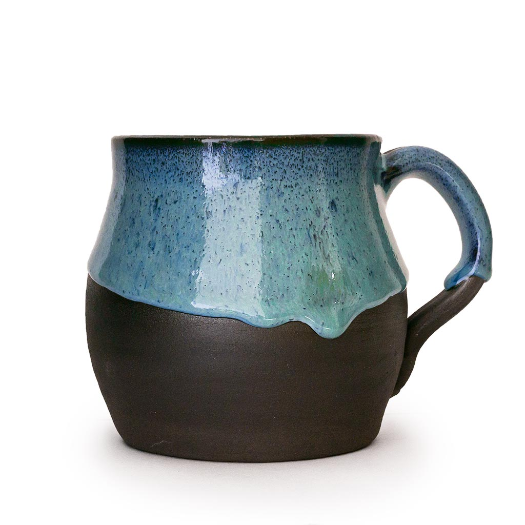 Baruch Blue Coffee Cup handcrafted in the hills of Judea and Samaria, Israel