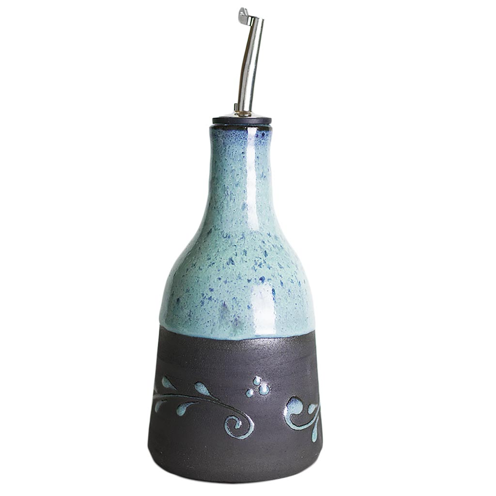 Baruch Blue Olive Oil Jug handcrafted in the hills of Judea and Samaria