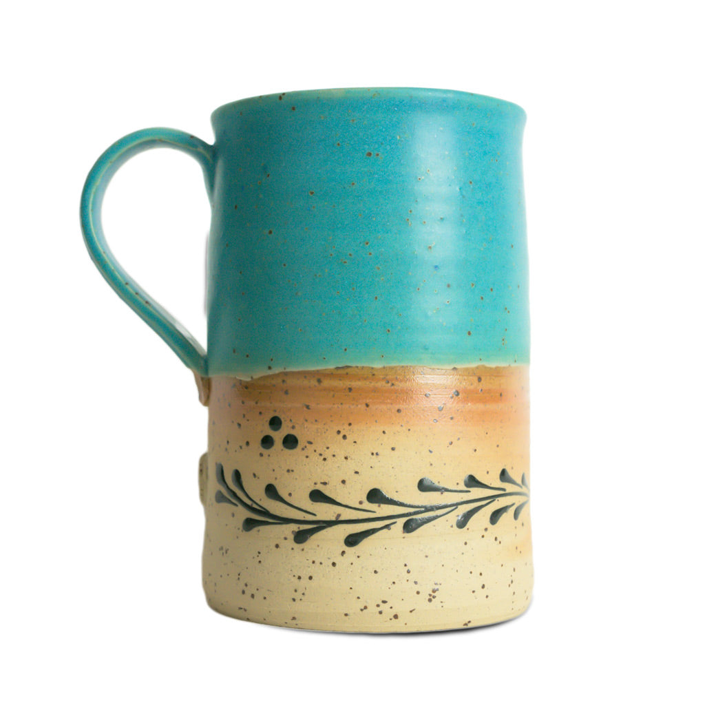 Cup - Turquoise Top, Painted Bottom