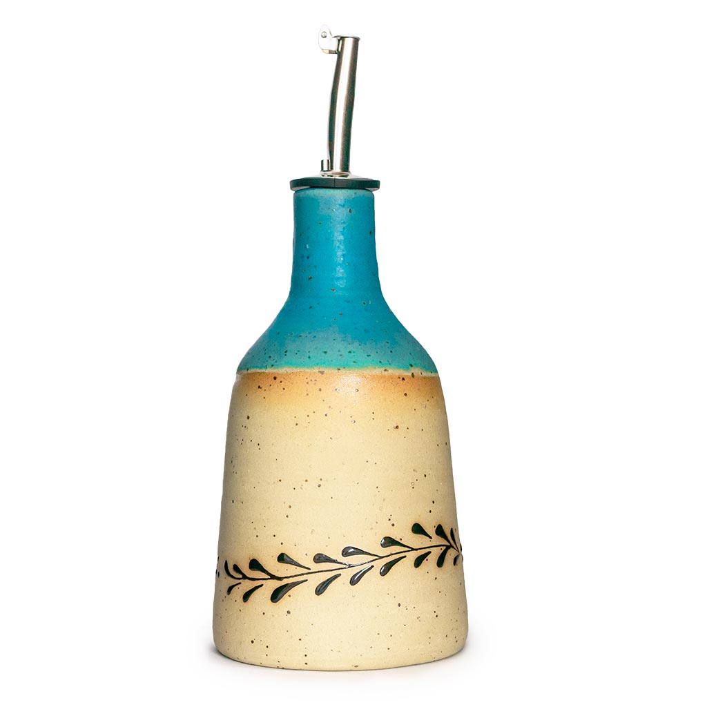 Turquoise olive oil jug handcrafted in Israel