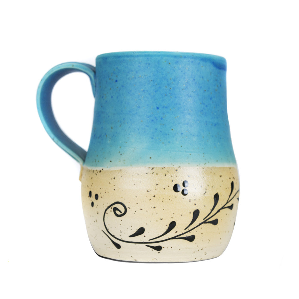 Large Cup - Turquoise Top, Rounded Painted Bottom - Blessed Buy Israel