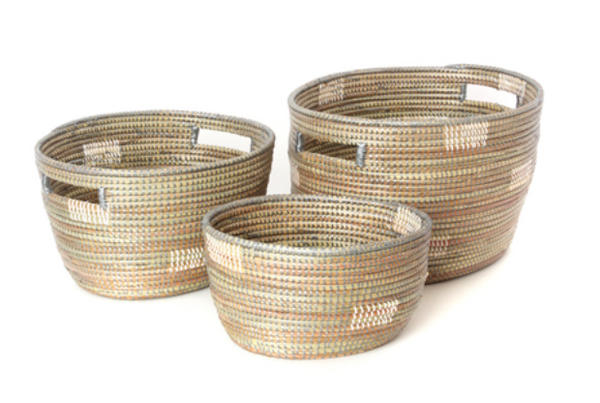 oval sewing baskets - grey with white dots
