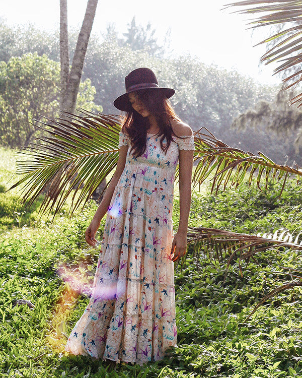 Off-Shoulder Flower Maxi Dress (MUD199)
