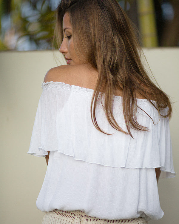 Kate Crinkle Frill Off-Shoulder Top (MUT240)