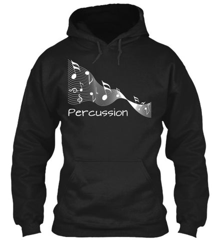 Percussion Music Ribbon - White Lettering - Hoodie