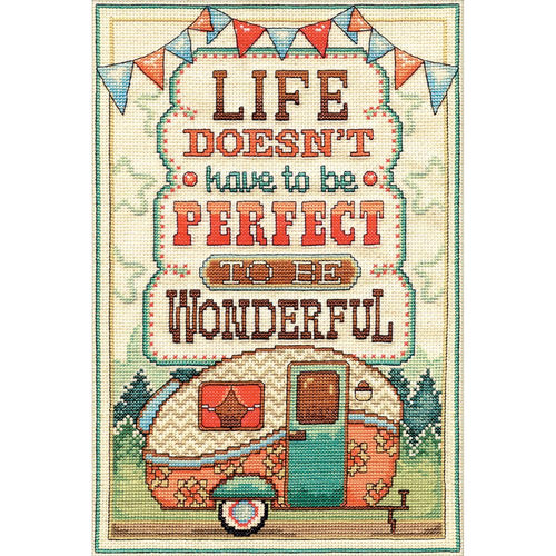 Life doesn't have to be perfect to be wonderful Cross Stitch Kit