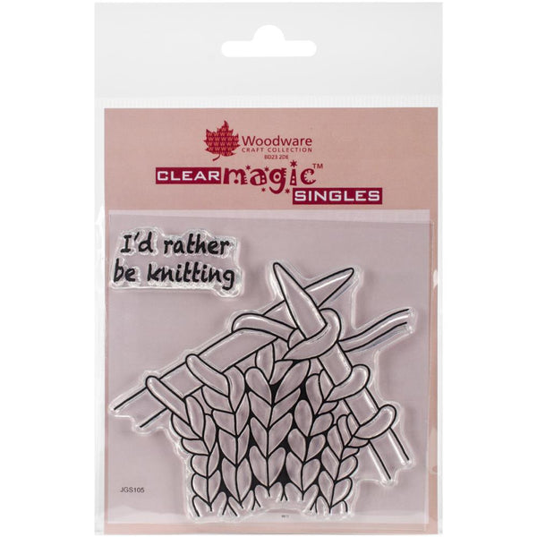 "Woodware Craft Collection ""I rather be knitting"" Clear Stamp"