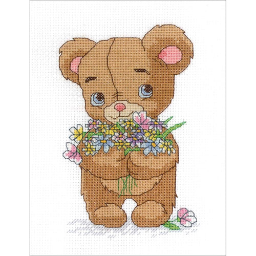 Janlynn Bear with Bouquet Cross Stitch Kit