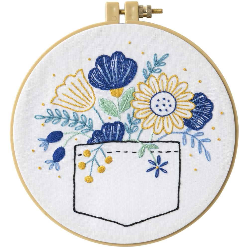 Bucilla Stamped Embroidery Kit-Pocket Full Of Posies