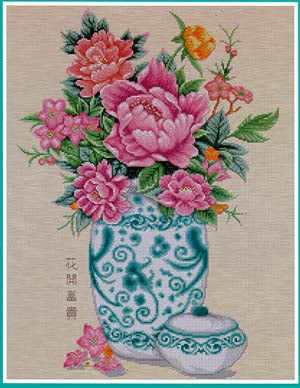 Peony in Vase Cross Stitch Chart