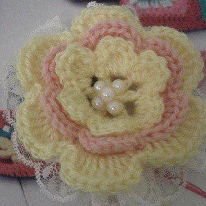 Guided Craft Project - Crochet a Layer Flower Brooch (Using Japanese Symbols)