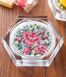 Cosmo English Rose Coaster Cross Stitch Kit