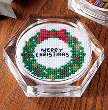 Cosmo Merry Christmas Wreath Coaster Cross Stitch Kit