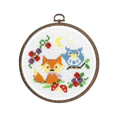 Olympus Cross Stitch Kit Animal in Forest - Fox and Owl