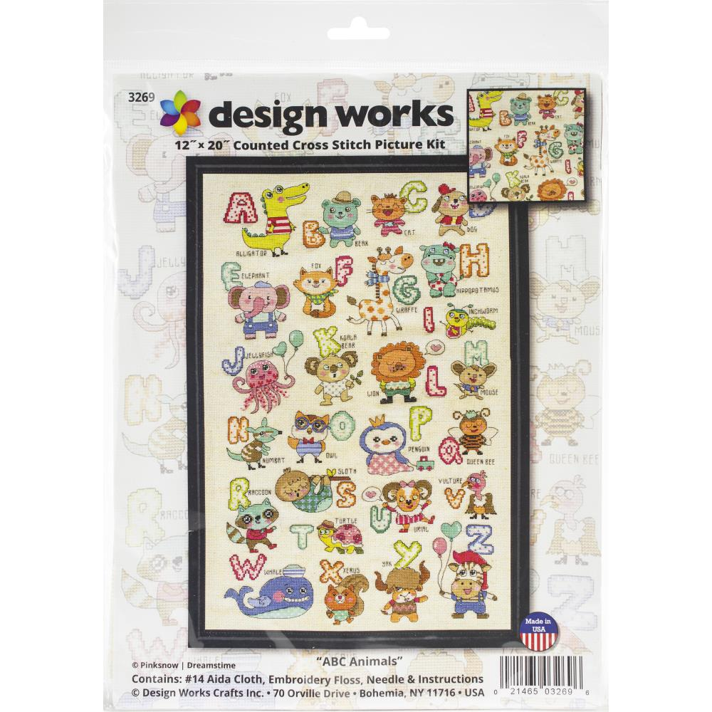 "Design Works ABC Cute Animals"" Counted Cross Stitch Kit"